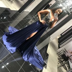 Navy Blue Sherri Hill Couture Gown - Pageant